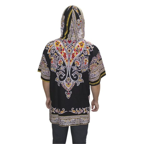 Black Hoodie Dashiki Shirt (Back)