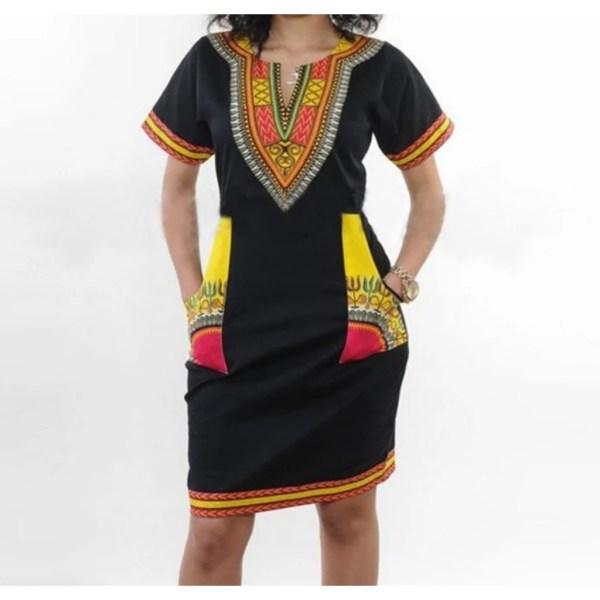 Dashiki Dress Yellow Pockets