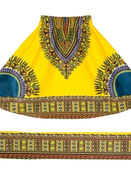 Dashiki Kids Elastic Waist Skirt (Yellow)