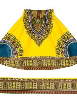 Dashiki Kids Elastic Waist Skirt (Yellow)