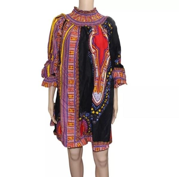 Dashiki African Cotton Dress Cotton (Black)
