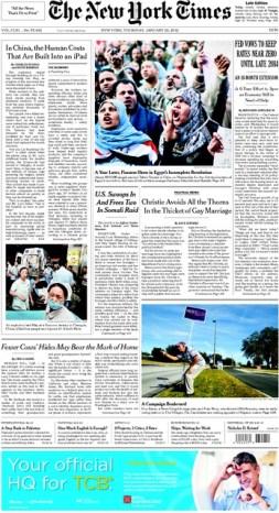 Portada del 26 de enero de 2012 donde se recoge el famoso artículo sobre los costes laborales del iPad y otros productos de Apple en China.