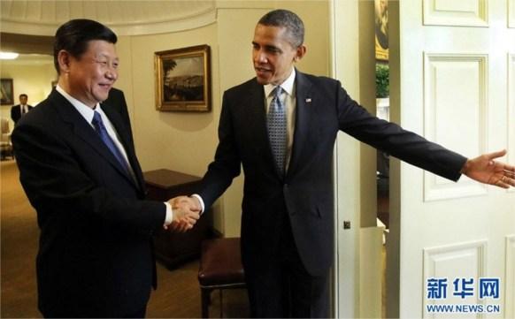 Una de las numerosas imágenes publicadas en los medios chinos y portales de Internet donde se puede ver a Xi Jinping y Barack Obama.