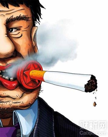 Viñeta publicada el 5 de marzo por la revista New Century Weekly (新世纪周刊), perteneciente al grupo mediático Caixin. En ella se presenta la noticia destapada por los medios de Shaanxi y se critica el despilfarro de dinero público en tabaco. Autor Ding Huayong (丁华勇)