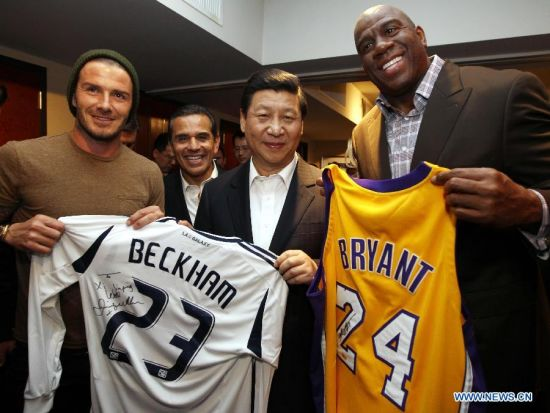 Xi Jinping junto a David Beckam y Magic Johnson