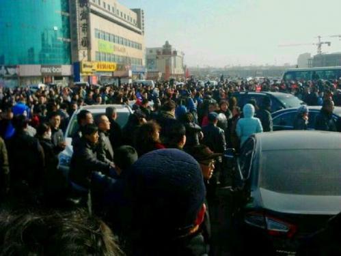 Manifestación a favor del alcalde de Datong.