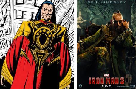 A la izquierda, el Mandarín de los cómics de Marvel; a la derecha, el enemigo de Iron Man 3, interpretado por Ben Kingsley.