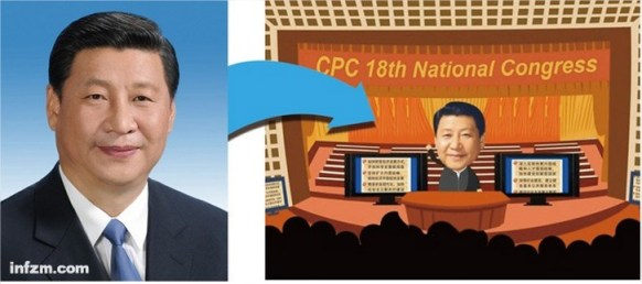 Otra de las imágenes publicadas por el Southern Weekly, con Xi Jinping como protagonista. En ella se puede ver como la foto oficial de Xinhua se utiliza para los dibujos animados.