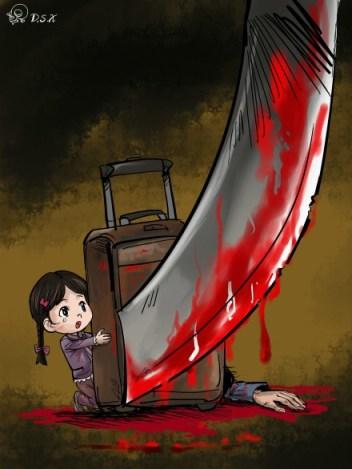 """Viñeta publicada en Sina Weibo por D.S.X con el texto: """"Ni siquiera dejaron escapar a los niños""""."""