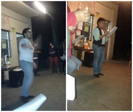 Left: my brother teaching the crowd a layered-style Christmas song Right: my Aunt leading a small service