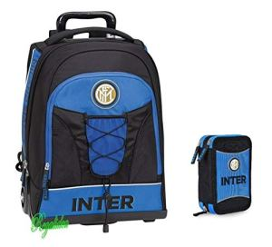 Trolley Zaino Scuola Inter Originale Nuova Collezione Neroazzurro Calcio Tifoso Astuccio 3 Piani Zip Completo Omaggio Penna Glitterata Omaggio Segnalibro 0