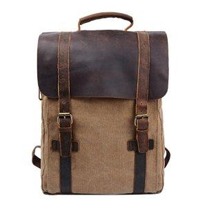 Y Double Vintage Tela Zaino Esterni Viaggi Zaino Scuola Borsa A Tracolla Zaino In Pelle Tela Vera Pelle Fit Ipad E 15 Laptop Backpack Per Uomo E Donna Cachi 0