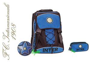 Zaino Scuola Inter Estensibile Originale Nuova Collezione Neroazzurro Calcio Tifoso Astuccio 3 Zip Omaggio Pallone Omaggio Penna Glitterata Omaggio Segnalibro 0