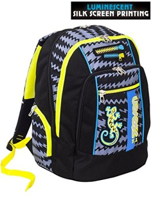 Zaino Scuola Advanced Seven Gecko Boy Nero Patch Fosforescenti 30 Lt Inserti Rifrangenti 0