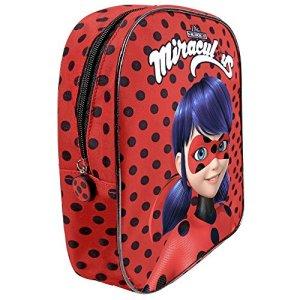 Miraculous Ladybug Zainetto Asilo Bambina Zaino A Pois Rosso E Nero Bimba Le Storie Di Lady Bug E Chat Noir 30x24x10 Cm Perletti 0