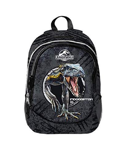 Zaino Scuola Jurassic World Nero Tre Cerniere 40x30x19 Cm 0