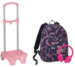 Zaino Seven The Double Easy Trolley Dreamy Blu Rosa Cuffie 2 Zaini In 1 Reversibile 0
