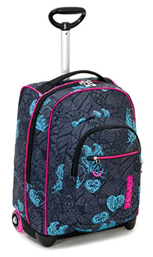 Trolley Fit Seven Colorflower Nero 35 Lt 2in1 Zaino Con Sollevamento Spallacci Per Uso Trolley Scuola Viaggio 0