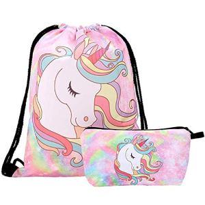 Intvn Zaino Unicorno 2 Pezzi Zaino Con Coulisse Per Regalo Unicorno Per Ragazze Include Borsa Trucco Per Bomboniere Unicorno Rosa 0