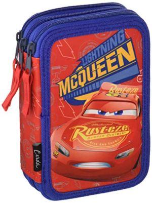 Disney Cars Saetta Mcqueen Astuccio Triplo 3 Scomparti Pennarelli Pastelli Accessori Scuola 42 Pezzi Poliestere Multicolore Giotto Cars 0