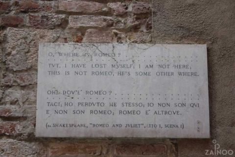 Inscription on the front door, Romeo's house
