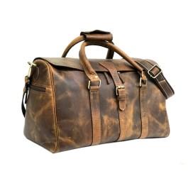 Hunter Brown Leather Weekender Bag