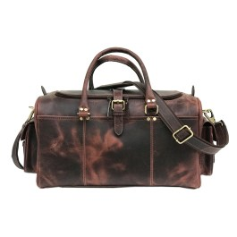 Dark Brown Hunter Leather Mini Weekend Bag