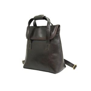 Genuine Dark Brown Leather Backpack Bag