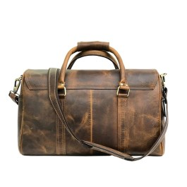 Hunter Brown Leather Weekender Bag