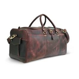 Hunter Brown Genuine Leather Weekend Bag