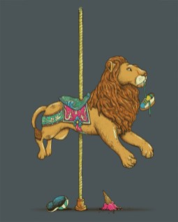 carroarsel lion mange enfant