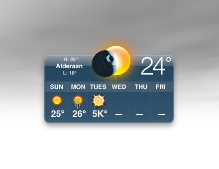 alderaan meteo widget star wars