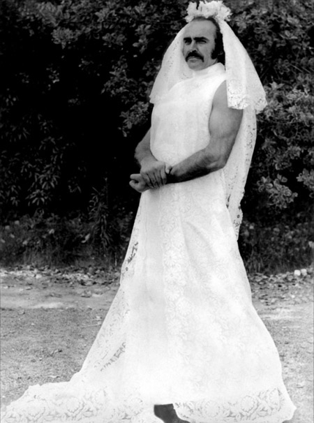 Sean-Connery-in-a-wedding-dress-on-the-set-of-Zardoz