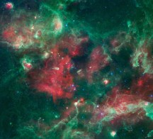 A bubbling cauldron of star birth is highlighted in this new image from NASA's Spitzer Space Telescope.