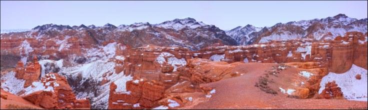 paysage neige terre orange