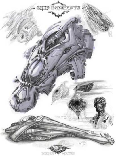 160-vaisseaux design concept dessin