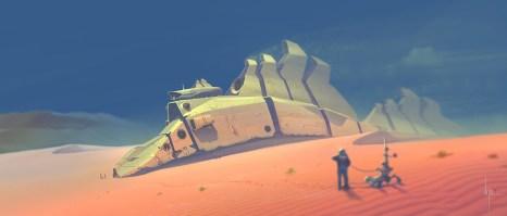 desert epave vaisseau par daniel