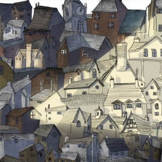 dessin ville crayon lueur