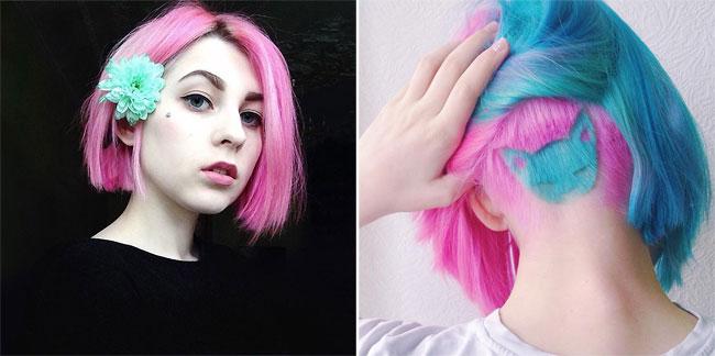 coupe cheveu chat bleu rose