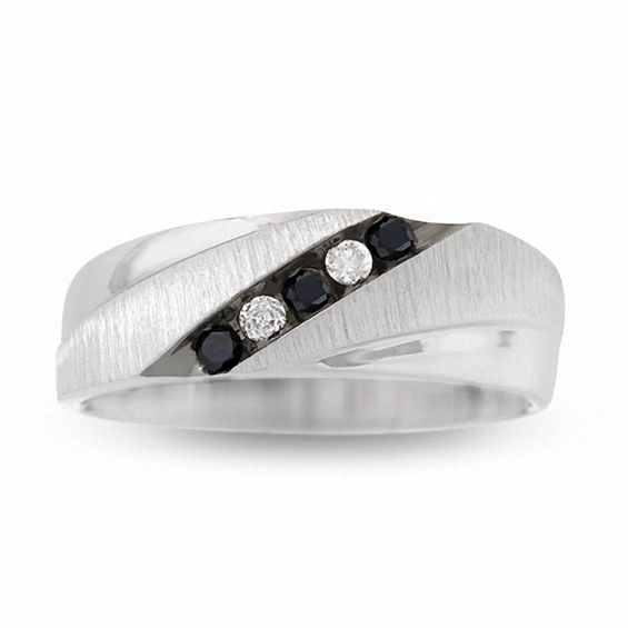 And Mens White Wedding Gold Black Rings