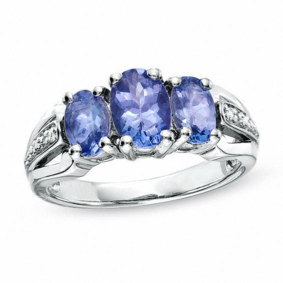 Oval Tanzanite Three Stone Ring In Sterling Silver With