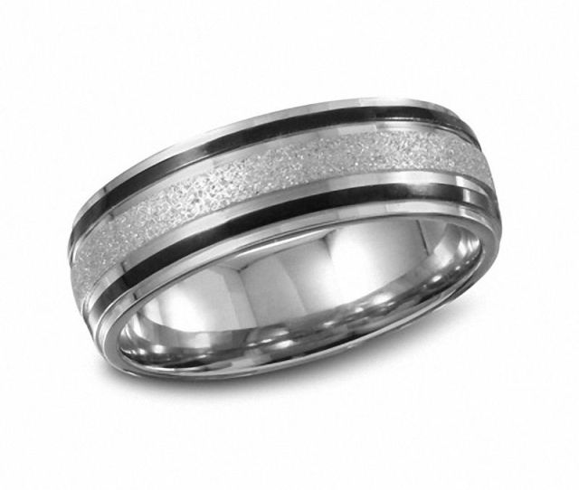 Mens  Mm Diamond Cut Stainless Steel Band With Black Ip Stripes