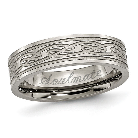 Mens 60mm Engraved Titanium Celtic Knot Wedding Band 18