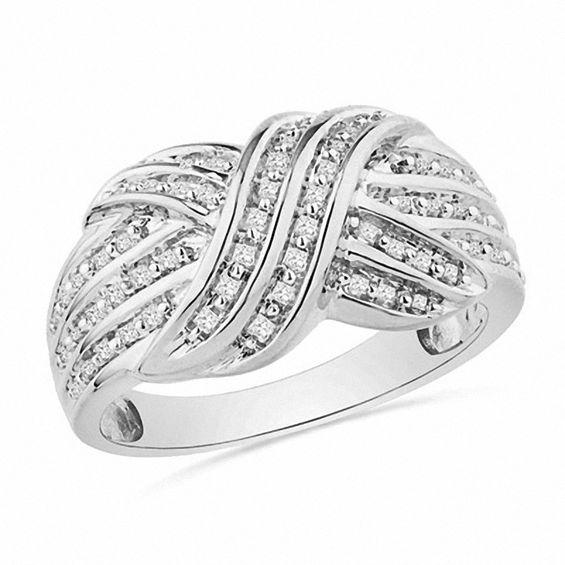 "1/4 CT. T.W. Princess-Cut Diamond ""X"" Ring in Sterling ..."