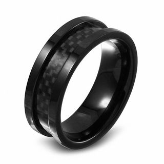 Mens 90mm Black IP Stainless Steel And Carbon Fiber