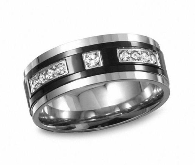 T W Diamond Two Tone Stainless Steel Wedding Band