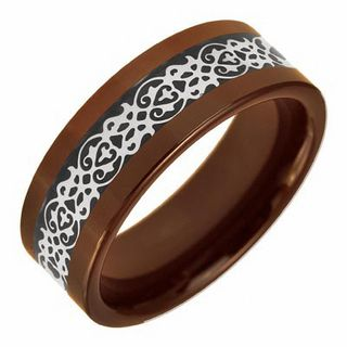 Mens 80mm Scroll Wedding Band In Tri Tone Ceramic