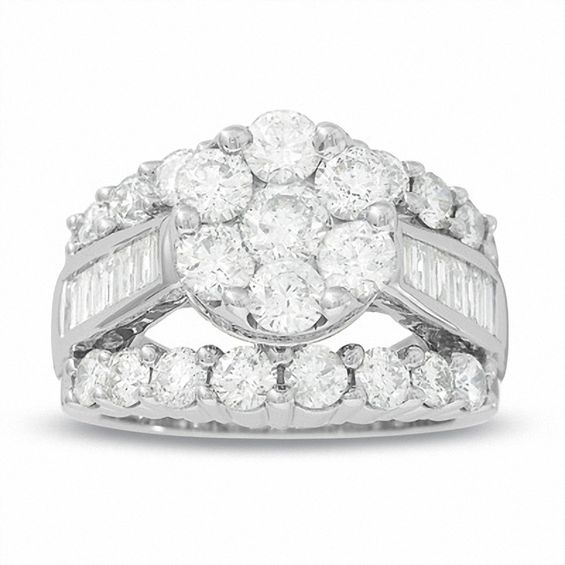 4 CT TW Composite Diamond Cluster Engagement Ring In