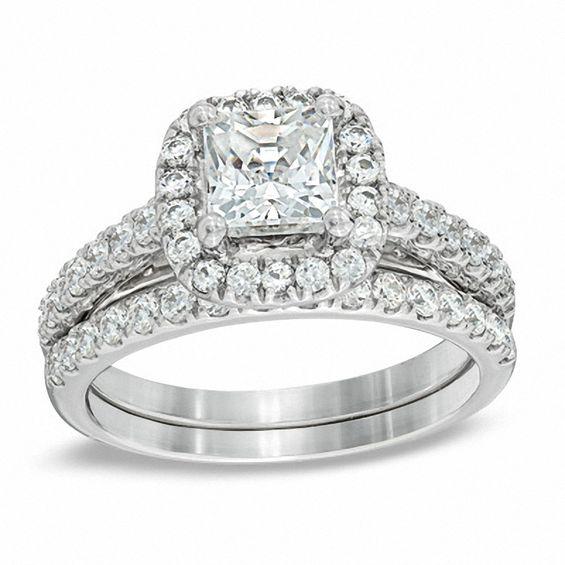 2 CT TW Princess Cut Diamond Frame Bridal Set In 14K
