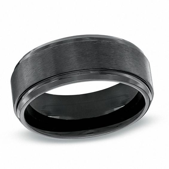 Mens 90mm Black Titanium Comfort Fit Wedding Band Size